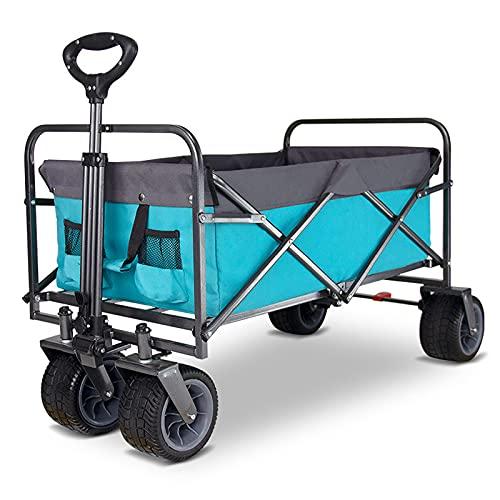 JLFFYJ Faltbarer Bollerwagen, Zusammenklappbarer Schwerlast-Mehrzweckwagen, Outdoor Camping Gartenwagen, All Terrain Utility Beach Wagon Cart mit Universalrädern 97x60x61cm,Blau
