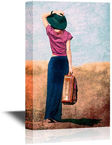 Arte de pared de lienzo - La dama con un vestido rojo con una maleta y un paraguas va a un tren - Abrigo de galería Arte moderno para el hogar | Listo para colgar a la chica pelirroja-18×12inch