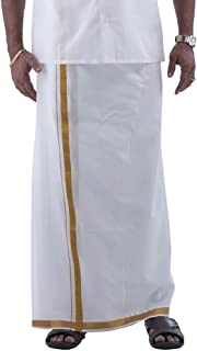 Ramraj Men's Gold Zari Border Cotton Dhoti (White, 4 Yards)