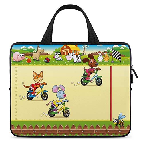 Universal Laptop Briefcase,MacBook Bag,Notebook Computer Bag,10inch,for Apple/MacBook/HP/Acer/Asus/Dell/Lenovo/Samsung,Color for Kids,Racing Mouse Cat And Dog on The Bike in Farm with Animal Comic Car