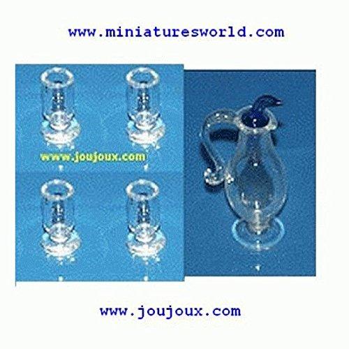Miniatures World - Set van 4 glazen en een glazen karaf voor miniatuurdecors en poppenhuizen in schaal 1:12