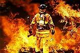 Feuerwehr Mann mit Axt Feuer Bild XXL Wandbild Kunstdruck