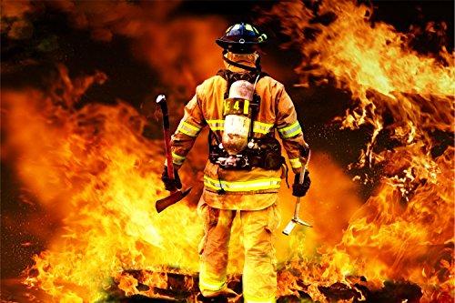 Feuerwehr Mann mit Axt Feuer Bild XXL Wandbild Kunstdruck Foto Poster P1108 Größe 90 cm x 60 cm