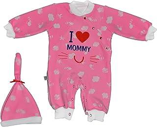 Baby Shoora botanical fibers baby bodysuit & hat printed I love mummy for girls Fushcia-0-3Month