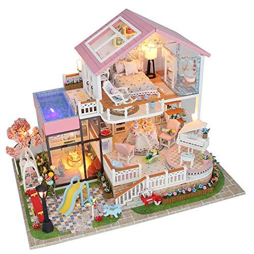 Casa de bricolaje Mini casa renovada Casa de muñecas DIY Palabras hechas...