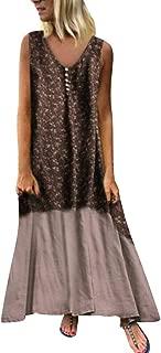Retro Dresses for Women Boho Maxi Dress Patchwork Plus Size Floral Casual Loose
