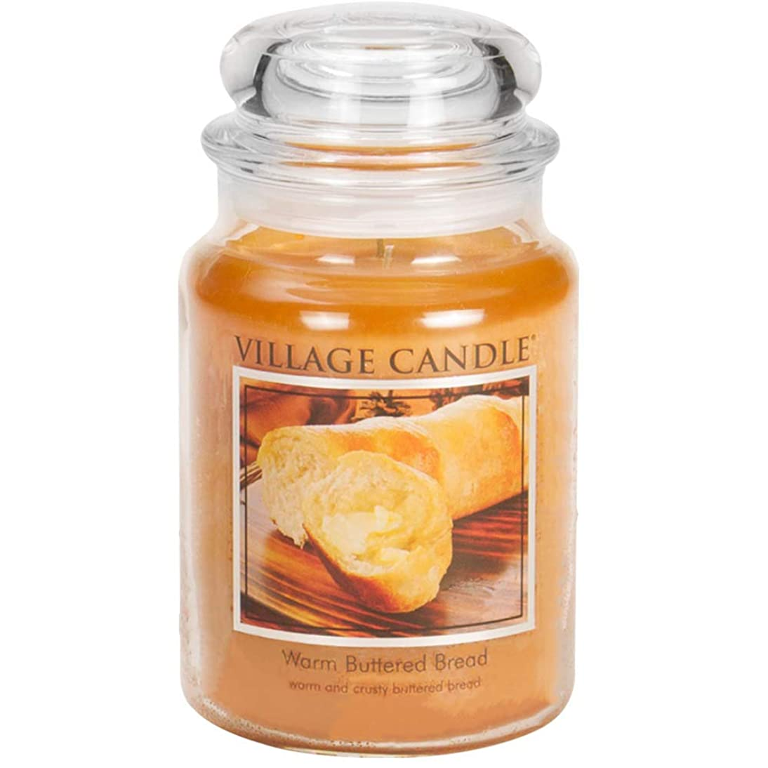 ゴールド引退する穀物Village Candle - Large Jar - Warm Buttered Bread (Orange) - Double Wick by Village Candle