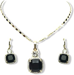 palm fashion jewelry set for women black crystal necklace earrings plated 18k gold rose gold beautiful gift