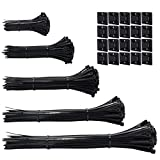 600pcs black Standard Self-Locking Nylon Cable Zip Ties Assorted Sizes 4/6/8/10/12 Inch wi...