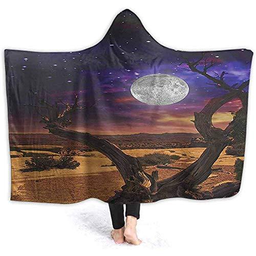 DJNGN 60X50 Inch Wele Hooded Blanket, Desert Sand Full Moon Light at Mystic Night Scene Home Art Brown Yellow Fleece Warm Throw Blanket Ho