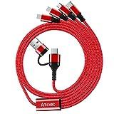 Amuvec Câble Multi USB A/C, 4 en 1 Multi Chargeur USB Câble en Nylon Tressé Charge Rapide avec 2...