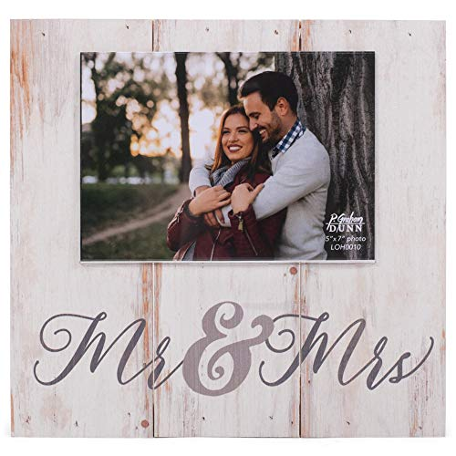 P. Graham Dunn Mr. and Mrs. Whitewashed 11 x 10 Pine Wood Wall and Tabletop Photo Frame