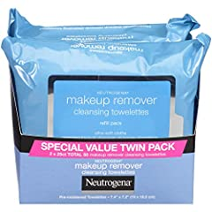 Twin pack of 25 count of soft, pre-moistened Neutrogena Makeup Remover Cleansing Towelettes to remove makeup and effectively cleanse skin in one easy step Makeup remover towelettes work to dissolve all traces of dirt, oil and makeup on skin, for supe...
