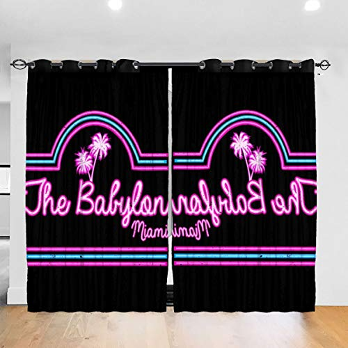 FDASLJ Customized Blackout Window Curtains Scarface Babylon Club Miami Grommet Thermal Insulated Room Darkening Drape for Bedroom Living Room 52 X 72 Inch, 2 Panels