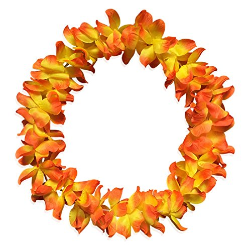 Demarkt Hawaii Flower Chains Hawaiian Necklace Tropical Hawaiian Luau Flower Lei Colourful Necklace Summer Garlands for Party Orange