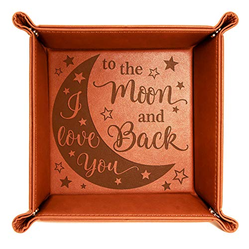 Kate Posh - I Love You to the Moon and Back Engraved Leather Catchall Valet Tray, Our 3rd Wedding Anniversary, 3 Years as Husband & Wife, Gifts for Her, for Him, for Couples (Rawhide)
