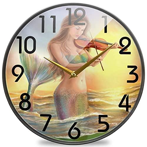 Reloj de Pared Redondo con Estampado de Sirena de fantasía para Mujer Hermosa, Reloj de Escritorio silencioso, silencioso, de Cuarzo, analógico y silencioso, para el hogar, la Oficina, la Escuela