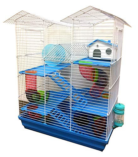 5 Floor Large Twin Tower Habitat Dwarf Syrian Hamster Rodent Gerbil Mouse Mice Rat Wire Animal Critter Cage