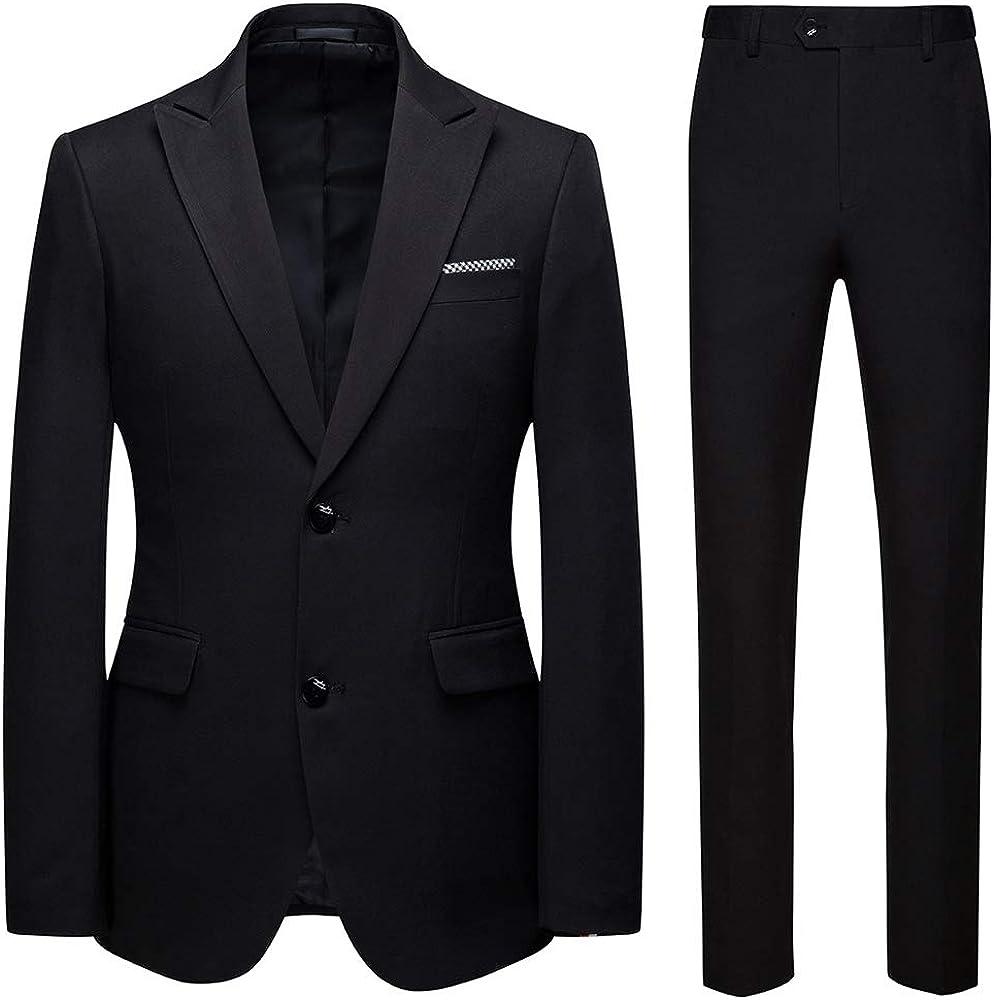 Men's Modern Fit 2 Piece Slim Fit Suit Two Button Wedding Tuxedo Blazer Pant