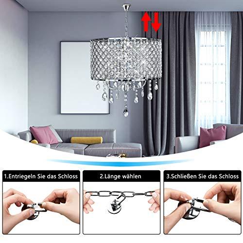Kristall Hängeleuchte Lampenschirm Kronleuchter Deckenlampe Lüster Pendelleuchte zylindrisch Hängelampenschirm E14 (Keine Glühbirne enthalten) - 3