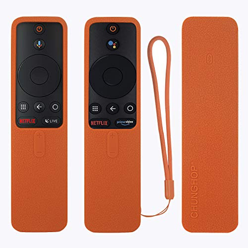 Protective Silicone Remote Case for XIAOMI MI Box S Remote Cover Shockproof Remote Holder for MI Box S Remote Anti-Slip Anti-Lost with Lanyard (Orange)