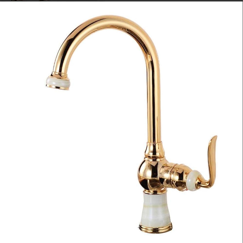 Wasserhahn Küche Waschbecken Badezimmer Küchenarmaturen Messing mit Marmor Kücheneinzelgriff Gold Finish 360 Schwenkarmaturen Küche