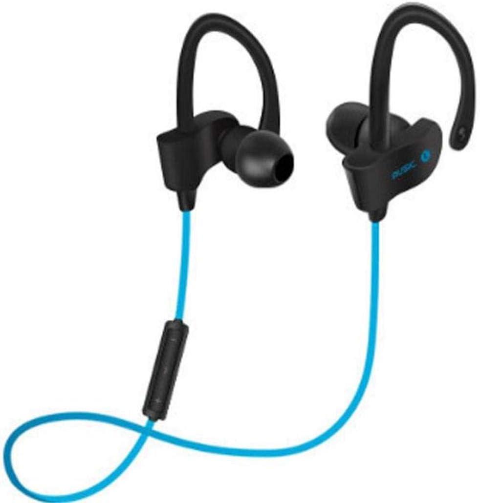 Rechargeable Bluetooth Wireless Headphones Sport Earhooks Universal Earphones for Phones Tablets Smart TV's mp4 (Blue)
