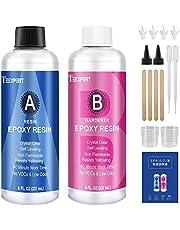 エポキシ樹脂 2液性レジン液 474ml (主剤237ml硬化剤237ml) 混合比率1:1 ハードタイプ 低粘度 大容量 アクセサリー、厚みや深さのある立体作品最適 エポキシレジン液