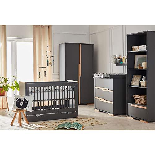 Chambre complète lit évolutif 70x140 - commode à langer - armoire 2 portes Snap - Gris et bois