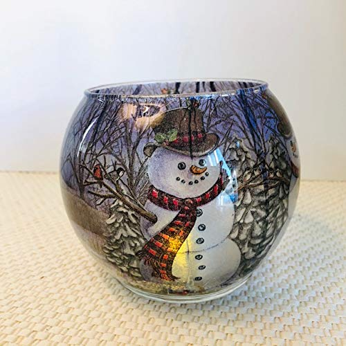 Romance Lights Tealight Candle Holder - Handmade Round Glass Candle Holder for Home Décor, Table Centerpiece, Weddings - with Flameless Flickering LED Candle - Happy Snowman Design, 5' x 4'