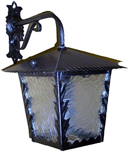 Lorenz Ferart 8518.0 Lanterna per Esterno a Braccio sopra, in Ferro battuto, Nero sfumato Argento, Vetro Trasparente Lavorato E27
