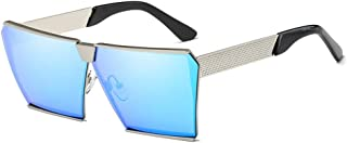 Fashion Square Silver Large Frame Glasses Unisex UV400 Protection Fashion Polarized Sunglasses Retro (Color : Blue)