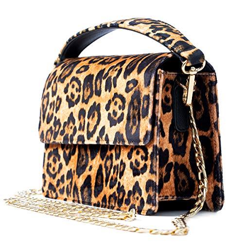 Becksöndergaard Bolso de mujer Leos Maik Bag Bolso con asa, estampado de leopardo, cadena dorada tamaño 22 x...