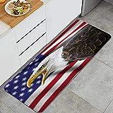 ZORMIEY Alfombras Cocina Antideslizante Alfombra de Baño,Decoración de la Bandera Estadounidense, águila en la Bandera de Primer Plano Orgullo Historia Solidaridad Símbolo de Identidad marcial