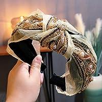 ヘアアクセサリーレトロヘッドケイブエスニックスタイルファッション手刺繍結び目ヘッドバンドヘアピンリボン蝶ネクタイヘアバンドレディース結び目ベージュ