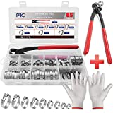PATACO 85Pcs 304 Single Ear Hose Clamps Stainless Steel,6-25.6mm Stepless Hose Clamps with Oetiker Clamps Plier and Gloves,Cinch Rings Crimp Hose Clamps Assortment Kit for Pipe,Plumbing,Automotive Use