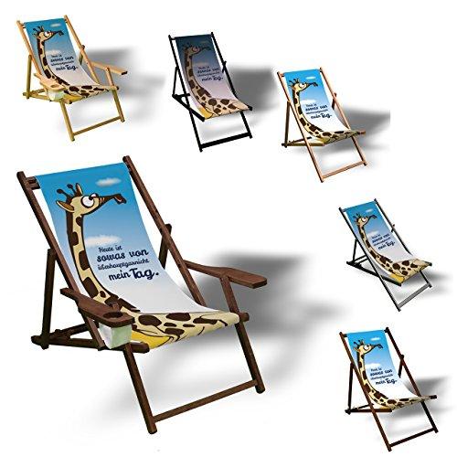 Printalio - Wunschtext - Comic Giraffe - Liegestuhl Bedruckt Balkon Garten Sonnenliege Relax Holz Terrasse | mit Armlehne, Dunkelbraun