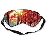 C COABALLA Autumn.Fall Scene.Pretty Autumnal Park.Beauty Nature Scene.Autumn Landscape,Eye Mask Natural Silk Sleep Mask by Drizzle Smooth and Soft Eye Covers for Sleeping Trees and Leaves
