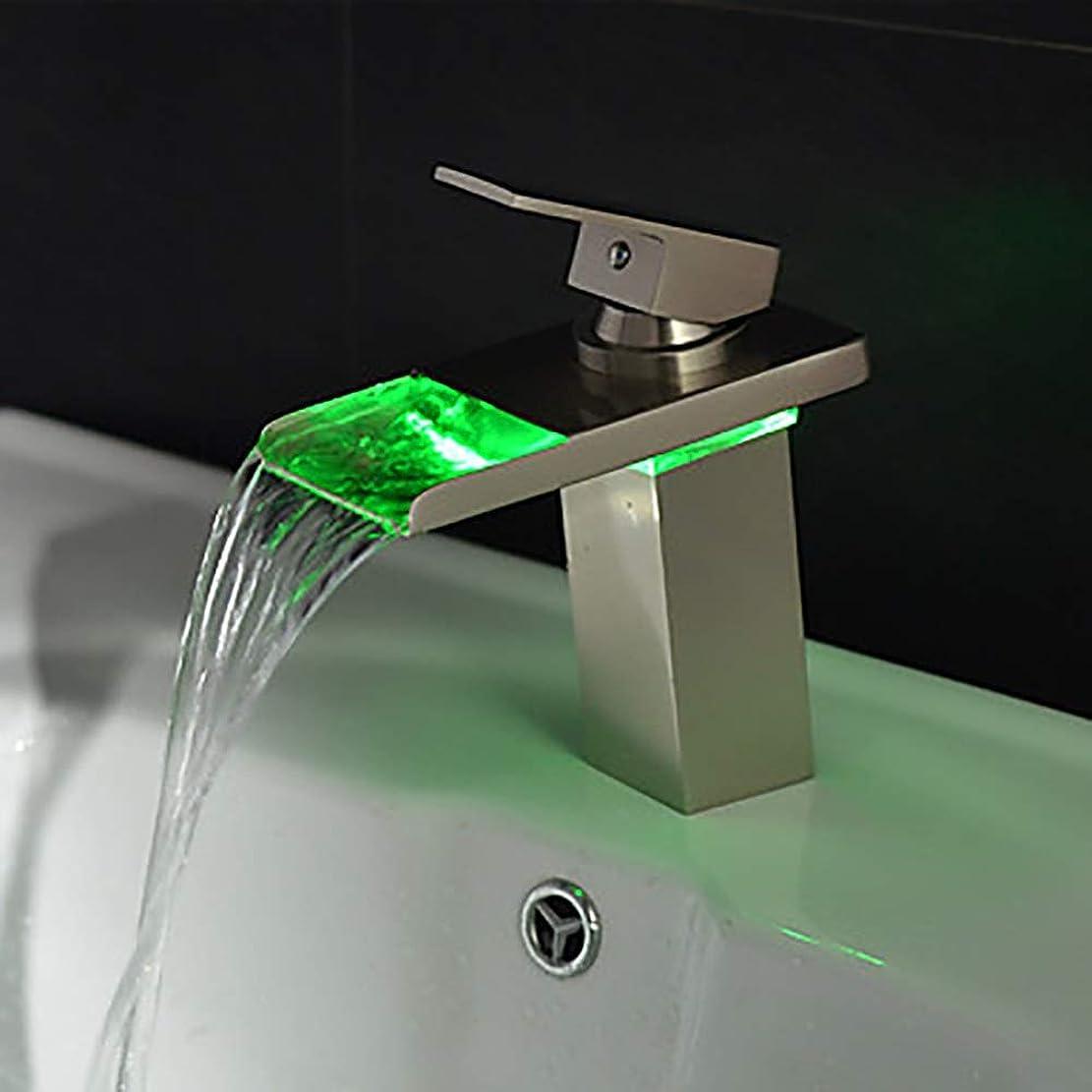 電話バングロデオHYH モダンなバスルームシンクの蛇口 - 滝/LEDステンレス鋼真鍮シングルハンドルワンタップ/真鍮 美しい人生
