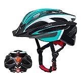 Casco da Bicicletta Adulti, Casco da Bici Uomo MTB, softeen Casco da Ciclismo di Montagna con Luce Posteriore (3 Modalità Lampeggianti) e Visiera Solare Staccabile, Stampaggio Integrato