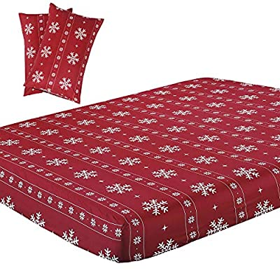 Vaulia Soft Microfiber Sheet, Red and White Color Snowflake King Size 3-Piece (1 Fitted Sheet, 2 Pillowcases)