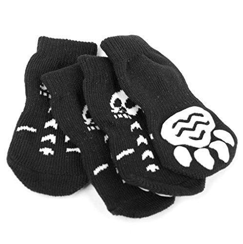 Soccik Hundesocken Haustier Skelett Gedruckt Socks Hund Anti-Rutsch Socken Pfotenschutz Rutschfeste Socken Unterseite 4 Stück L
