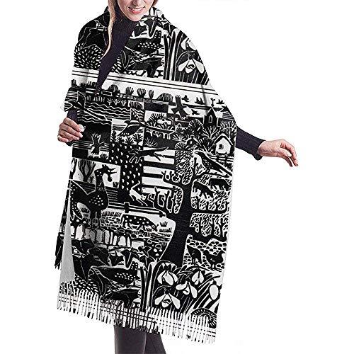 Elaine-Shop Damenschal Zeitgenössische Druckgrafik Linolschnitt-Drucke Klassischer Quasten-Plaid-Schal Warmer Herbst- und Winterschal