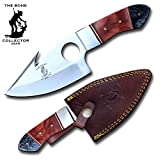 Bone Collector 8' The Black Orange Color Acrylic Handle Full Tang Hunting Guthook Knife with Finger Hole and Leather Sheath