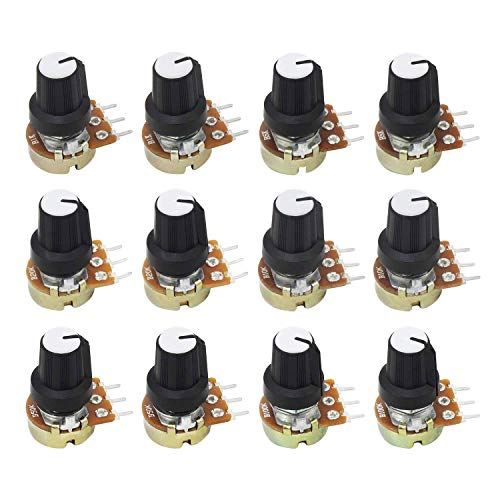ALLNICE 6value 12PCS Single Linear Potentiometer 3 Terminal Rotary Potentiometer B1K B5K B10K B20K B50K B100K for Arduino Raspberry Pi with control knob nut and washer