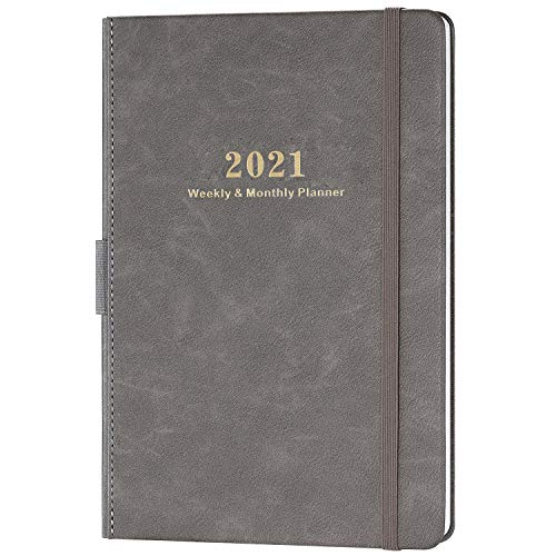 Diary 2021 - Weekly & Monthly Planner 2021 with Calendar Stickers, 14.6 X 21 cm, A5 Premium Thicker Paper with Pen Holder, Inner Pocket and 88 Notes Pages