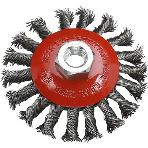 BESLIME Tête Brosse Désherbage, Utilisé pour le désherbage et l'élimination de la rouille, Plateau Désherbage en Fil d'acier Universel, Machines Accessoires (5 pouces)