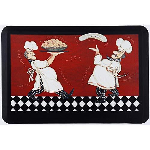 Oversized Chef Series Antifatigue Kitchen Mats (Pizza Pasta Chefs, 24 inch x 36 inch)
