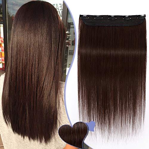 Elailite Extension Capelli Veri Clip Fascia Unica 100% Remy Human Hair Naturali Lisci 45g - Ciocca Larga 22cm Lunga 40cm #4 Marrone Cioccolato