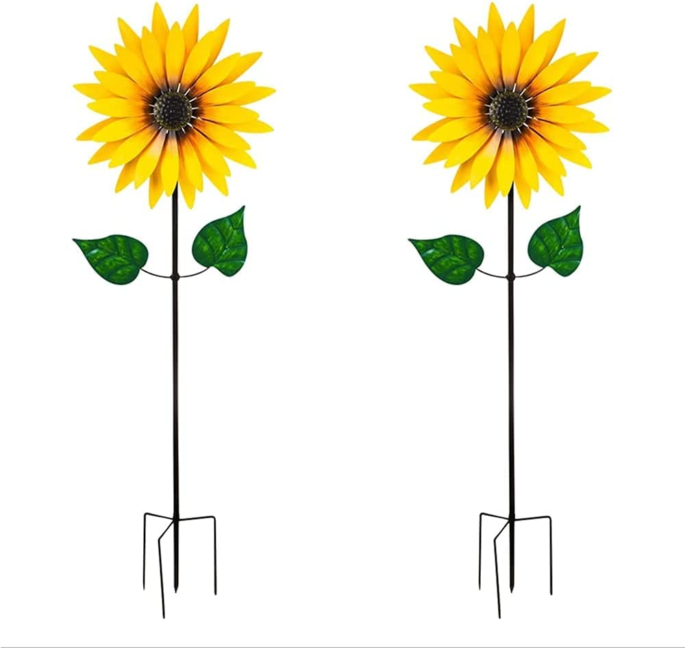 Large outdoor yellow sunflower Translated metal wind garden sunflo supreme spinner